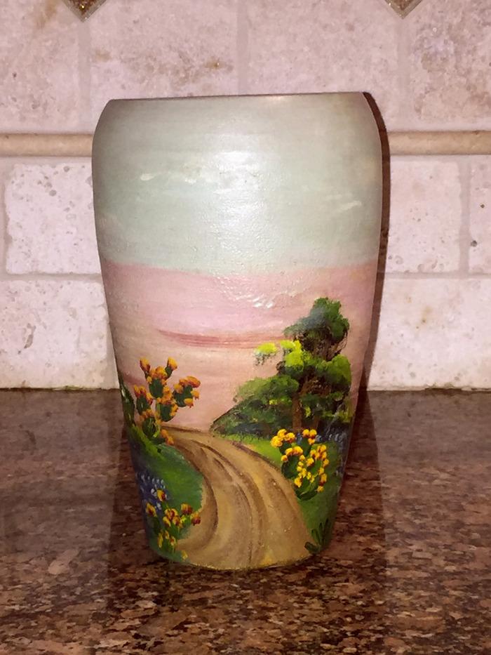 Vase Bluebonnet / Blooming Cactus