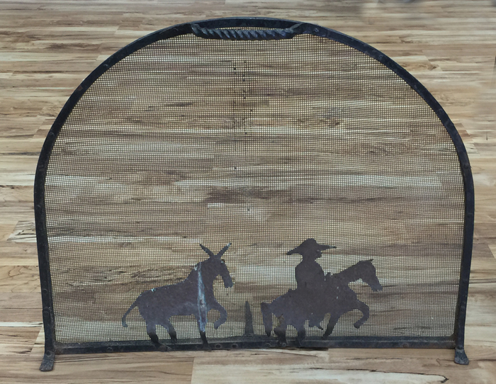 """Hand Forged, 1930s """"Western Fireplace Screen"""""""