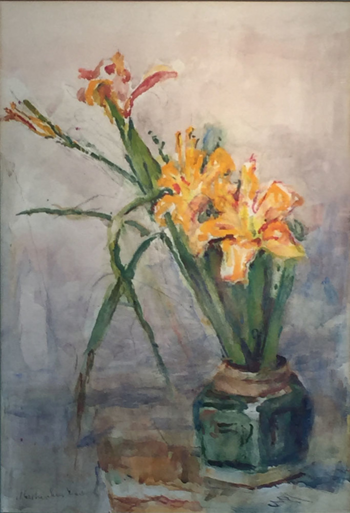 """""""Yellow Day Lilies in Green Jar"""""""
