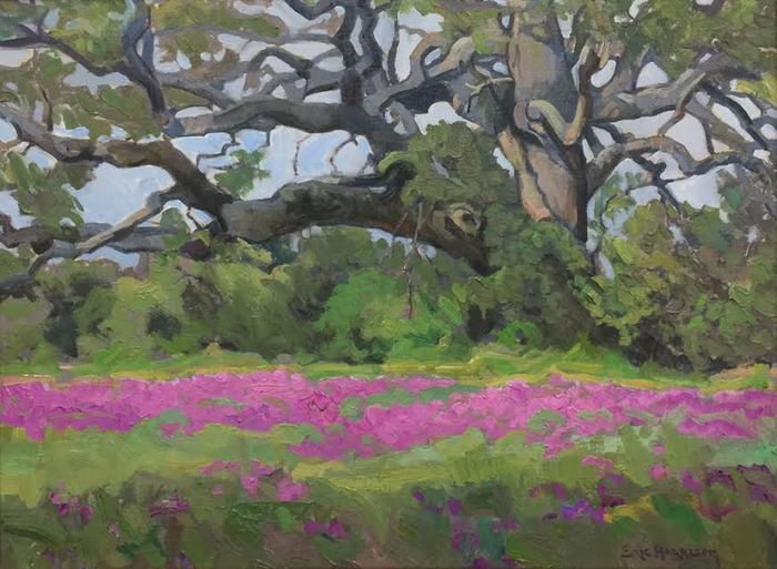 """Oak with Hot Pink Phlox"""