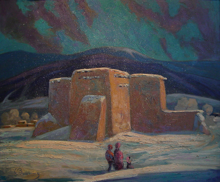Mission in Winter  (Rancho De Taos)