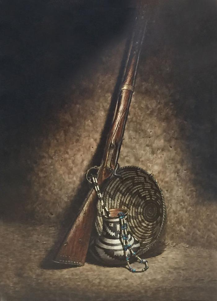 Rifle and Basket