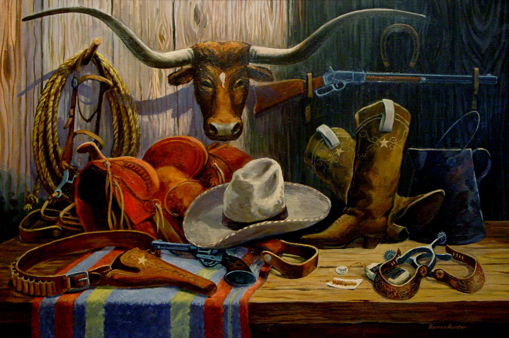 Warren Hunter Quot Cowboy Gear Quot 759 Texas Art Vintage