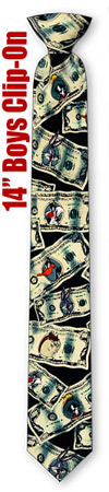 Looney Money 14inch Boys CliponTie by Looney Tunes -  Black Polyester