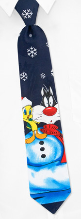 Boys Ties - Sylvester Snowball By Looney Tunes Navy Blue Polyester Boys Ties