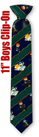 Boys Ties - Rug Rats Stripe 11inch By Nickelodeon Navy Blue Polyester Boys Clipon Ties