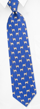 Pug Profile blue by Alynn Dog Ties blue silk ties