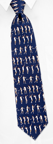 Novelty Ties - Tennis Strokes By Alynn Novelty Blue Silk Ties