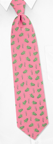 Novelty Ties - Sea Turtles By Alynn Novelty Pink Silk Ties