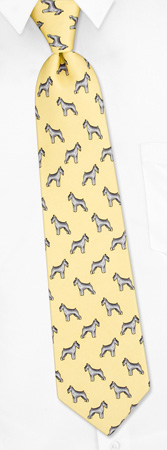 Boys Ties - Schnauzer Profile By Alynn Dog Ties Yellow Silk Boys Ties