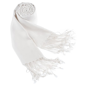White Pashmina - Solid Pashmina By Museum Artifacts White Viscose Pashmina
