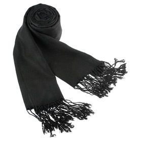 Black Shawl - Solid Pashmina By Museum Artifacts Black Viscose Pashmina
