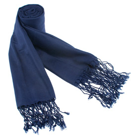 Shawls Pashmina - Solid Pashmina By Museum Artifacts Navy Blue Viscose Pashmina