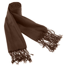 Pashmina - Solid Pashmina By Museum Artifacts Brown Viscose Pashmina