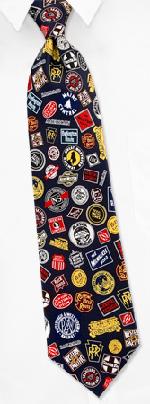 Railroad Ties - Railroad Classic Logos By Museum Artifacts Navy Blue Silk Ties