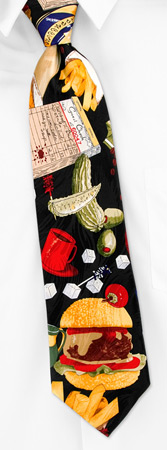 Food Ties - Fast Food Burger And Fries By Museum Artifacts Black Silk Ties