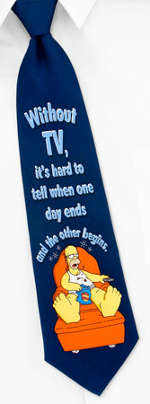 The Simpsons Ties - Homer Without TV By The Simpsons Navy Blue Silk Ties