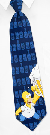 The Simpsons Ties - Homer's Drink By The Simpsons Navy Blue Silk Ties