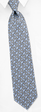Tie Chain - Chain Link By Gucci Gray-blue Silk Ties