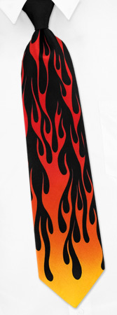 Flames by Dave the Cat black silk ties