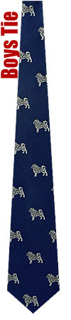 Boys Ties - Norwegian Elkhound By Kay Nine Design Navy Blue Polyester Boys Ties