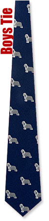 Boys Ties - Old English Sheepdog By Kay Nine Design Navy Blue Polyester Boys Ties