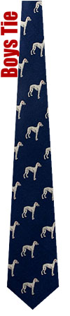 Boys Ties - Greyhound By Kay Nine Design Navy Blue Polyester Boys Ties