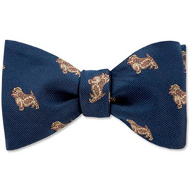 Cheap Ties - Norfolk Terrier By Kay Nine Design Navy Blue Polyester Freestyle Bowties