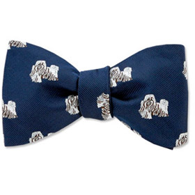Cheap Ties - Shih Tzu By Kay Nine Design Navy Blue Polyester Freestyle Bowties