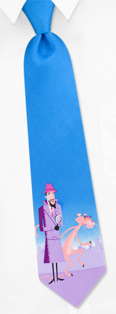 Pink Ties - Elusive Panther By Pink Panther Blue Silk Ties