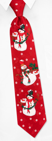 Silk Ties - Large Snowman By Hallmark Red Silk Ties
