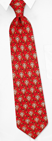 Festive Turkeys Tie by Oak Hill Neckwear -  Red Silk