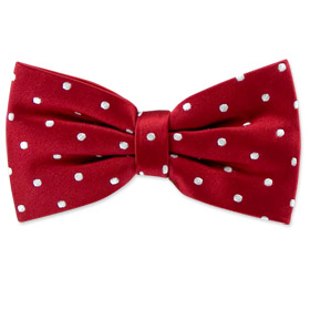 Burgundy with White Dots Pretied Bowtie by Principessa -  Burgundy Silk