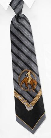 Resistol Hats - Rodeo Motif By Resistol Charcoal Silk Ties
