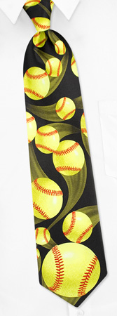 Sports Ties - Just Balls Softball By RM Sports Black Polyester Ties