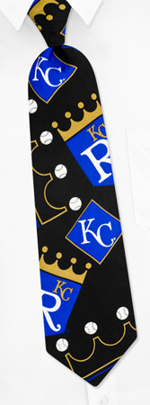 Black Tie - MLB Kansas City Royals Big Logo By MLB Black Silk Ties