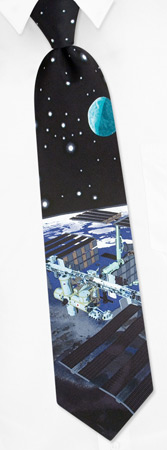 Silk Ties - International Space Station By RM Style Black Silk Ties