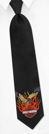 HD Eagle in Flames Tie by Harley Davidson -  Black Silk