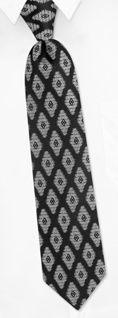 Skinny Ties - The Big Skinny Diamond With Pocketsquare By Steven Land Black Silk Ties