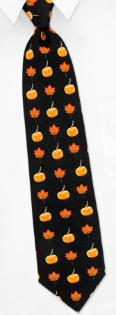 Pumpkin and Leaf Tie by Wild Ties -  Black Silk