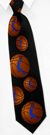 Basketball Ties - Basketball Silhouette By Wild Ties Black Silk Ties