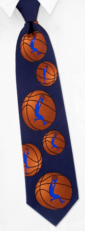 Basketball Ties - Basketball Silhouette By Wild Ties Navy Blue Silk Ties