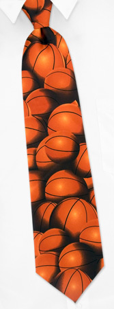 Basketball Ties - Basketball Fever By Wild Ties Orange Polyester Extra Long Ties