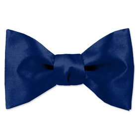 Blue Tuxedo - Navy Blue By Elite Solid Navy Blue Silk Freestyle Bowties