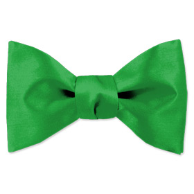 Classic Green Freestyle Bowtie by Elite Solid - Green Silk
