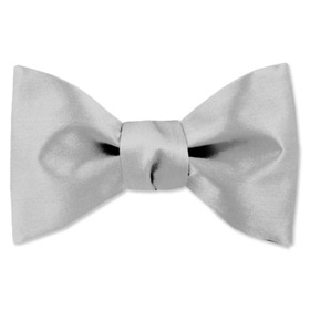 Wedding Tuxedo - Wedding Silver By Elite Solid Silver Silk Freestyle Bowties