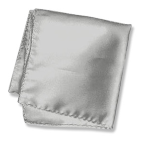 """Wedding Handkerchief - Wedding Silver 16"""" By Elite Solid Silver Silk Pocket Squares"""