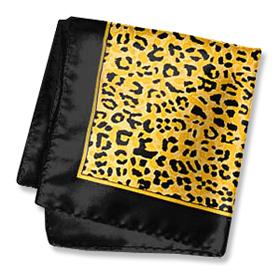 Orange Tie - Cheetah Print By Wild Ties Orange Silk Pocket Squares
