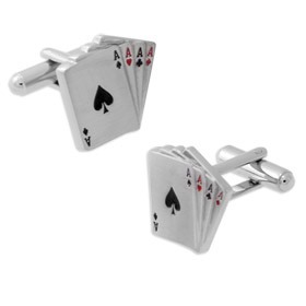 Aces Four of a Kind Cufflink by Enrico Pardini - Silver Rhodium