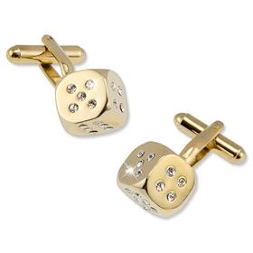 Dice Cufflinks - Swarovski Crystal Dice By Enrico Pardini Gold Metal Cufflinks